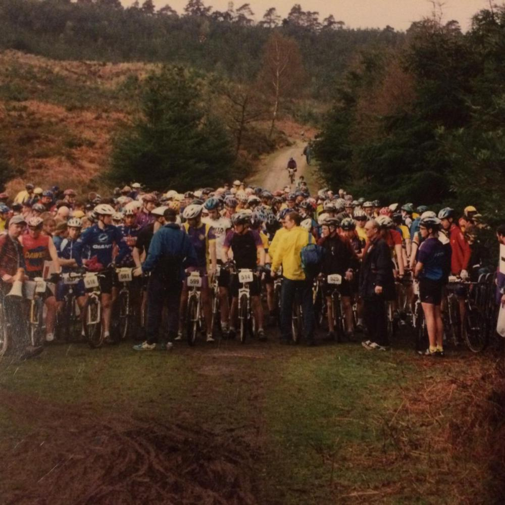Retro racing..start of the Junior men's race at the 1996 SAMS Rd 1 at Puddletown Forest, you can almost smell the fear!
