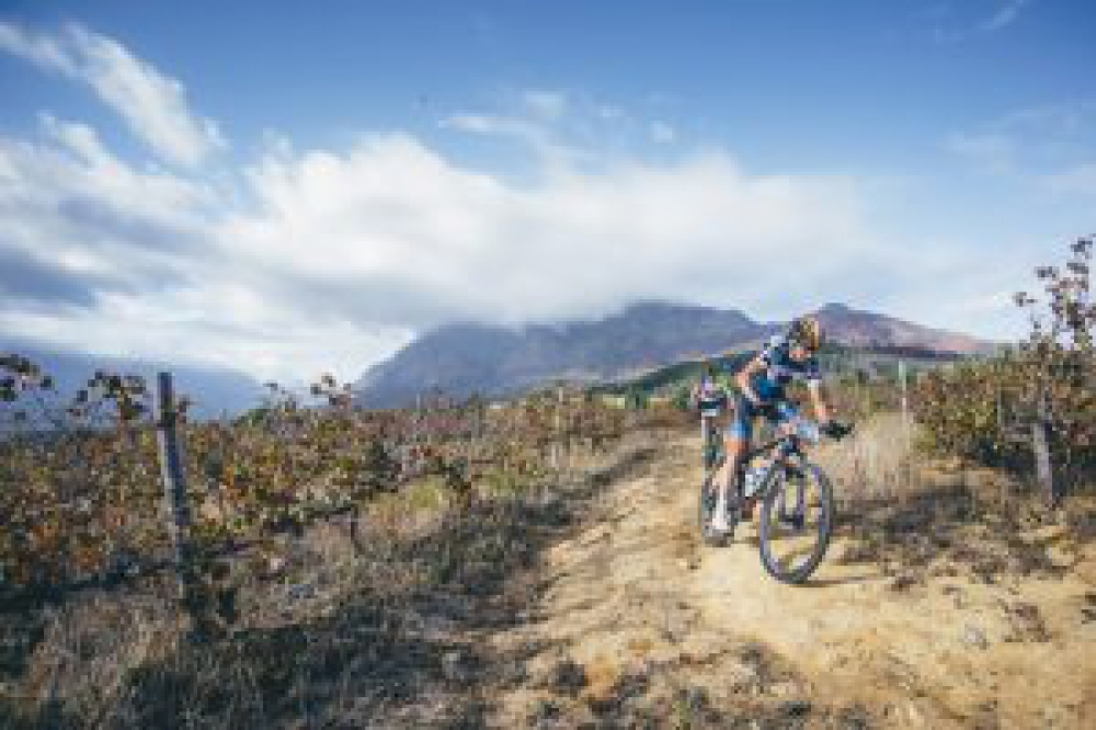 Team CST Superior Brentjens' Bart Brentjens and Team Meerendal BIXS KTM Heinz Zoerweg during the final stage (stage 7) of the 2016 Absa Cape Epic Mountain Bike stage race from Boschendal in Stellenbosch to Meerendal Wine Estate in Durbanville, South Africa on the 20th March 2016 Photo by Ewald Sadie/Cape Epic/SPORTZPICS PLEASE ENSURE THE APPROPRIATE CREDIT IS GIVEN TO THE PHOTOGRAPHER AND SPORTZPICS ALONG WITH THE ABSA CAPE EPIC ace2016
