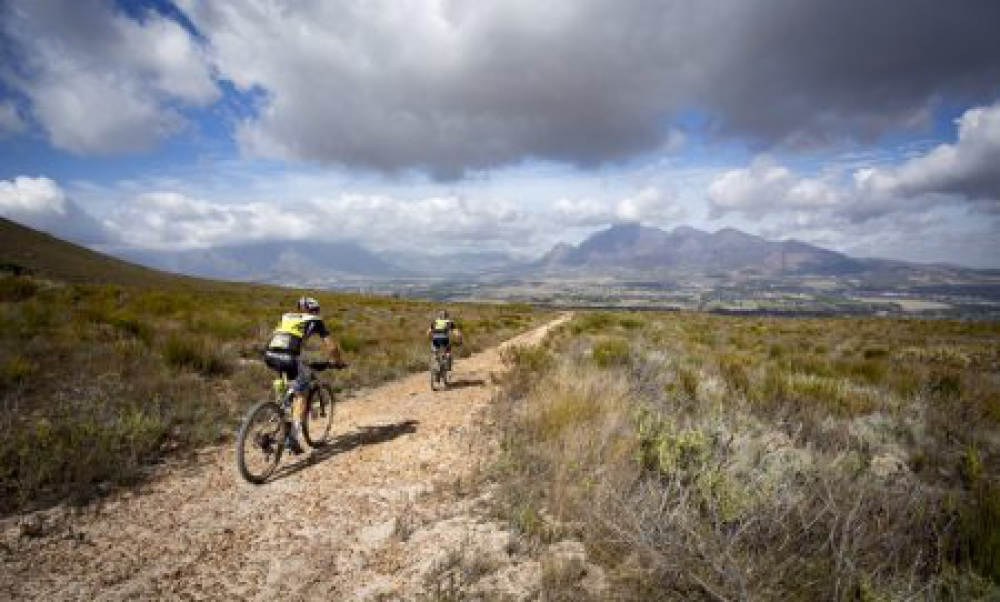 Karl Platt and Urs Huber of Team Bulls 1 descend towards Boschendal during stage 5 of the 2016 Absa Cape Epic Mountain Bike stage race held from the Cape Peninsula University of Technology in Wellington to Boschendal in Stellenbosch, South Africa on the 18th March 2016 Photo by Nick Muzik/Cape Epic/SPORTZPICS PLEASE ENSURE THE APPROPRIATE CREDIT IS GIVEN TO THE PHOTOGRAPHER AND SPORTZPICS ALONG WITH THE ABSA CAPE EPIC ace2016