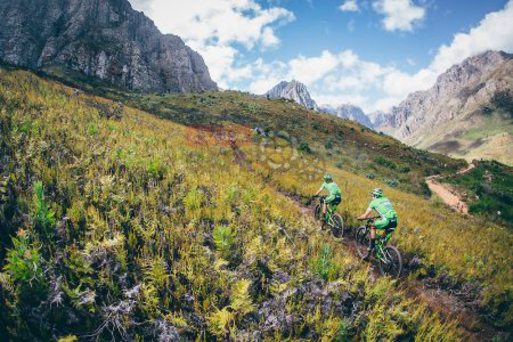 Henning Blaauw and Louise Ferreira during stage 6 of the 2016 Absa Cape Epic Mountain Bike stage race from Boschendal in Stellenbosch, South Africa on the 19th March 2015 Photo by Ewald Sadie/Cape Epic/SPORTZPICS