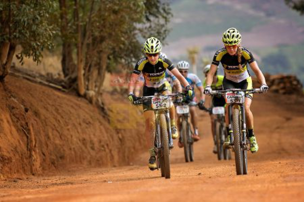 Sally Bigham and Adel Morath of Team Topeak Ergon during stage 6 of the 2016 Absa Cape Epic Mountain Bike stage race from Boschendal in Stellenbosch, South Africa on the 19th March 2015 Photo by Mark Sampson/Cape Epic/SPORTZPICS