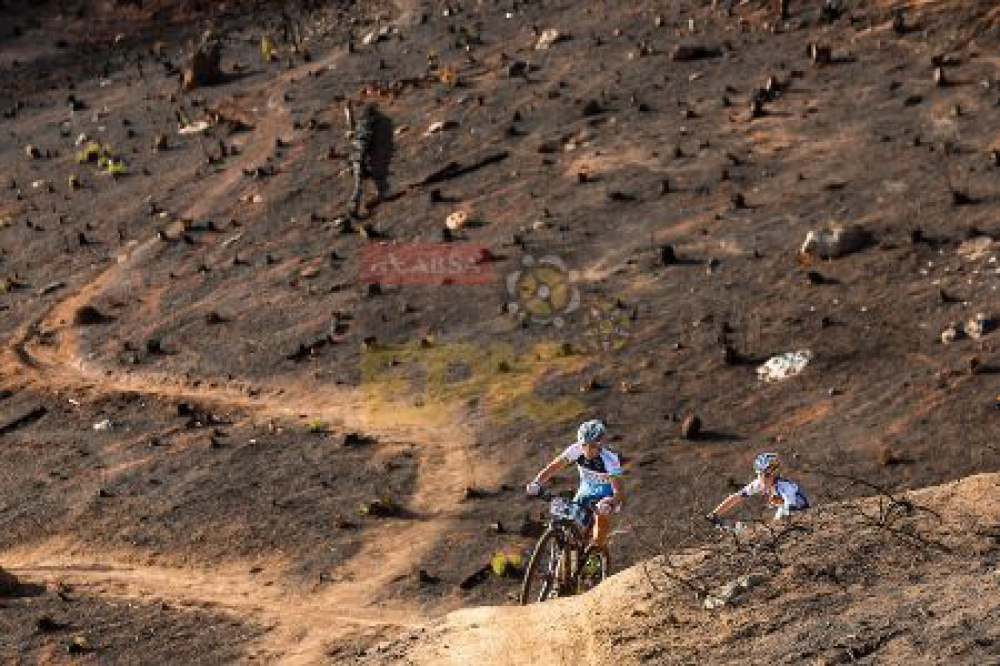 Sabine Spitz and Yana Belomoina during stage 6 of the 2016 Absa Cape Epic Mountain Bike stage race from Boschendal in Stellenbosch, South Africa on the 19th March 2015 Photo by Sam Clark/Cape Epic/SPORTZPICS